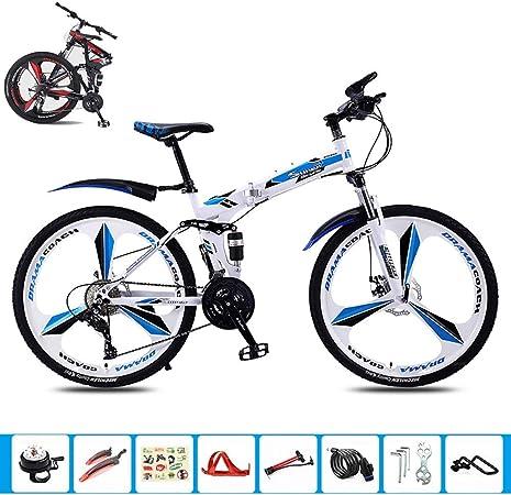MTTKTTBD Bicicleta Plegable Montaña,26 Pulgadas de 21 Velocidades Adulto Bici con Doble Freno de Disco,Ligero Folding Bike para Mujer Hombre: Amazon.es: Hogar