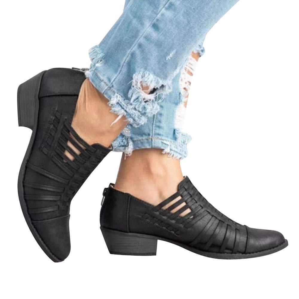 MOIKA Femme Boots Chaussures Classiques Chaudes Botte Rome Zipper avec des Bottes /à Talons Hauts