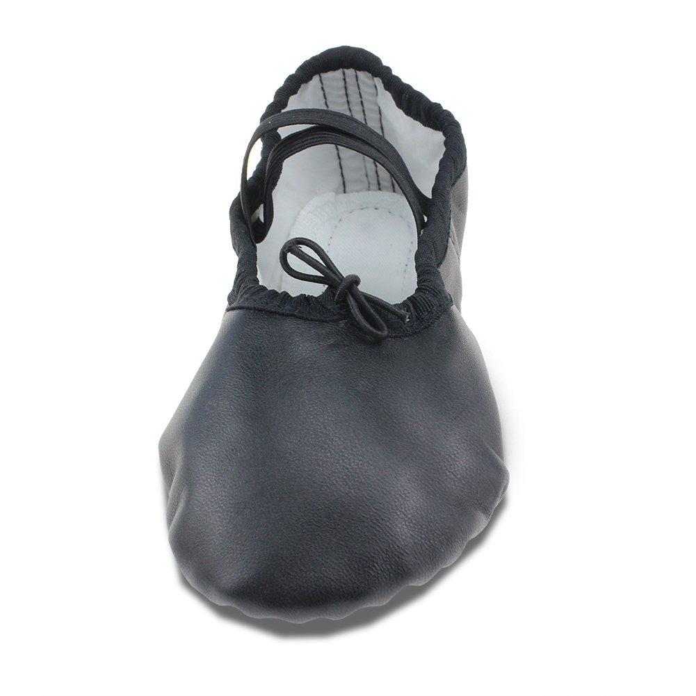 MSMAX Black Leather Full Sole Casual Slipper Ballet Flat,Big Kid,7M US