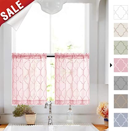 Tier Curtains 24 inch Pink Rod Pocket Sheer Curtain Set for Kitchen Cafe  Curtains Moroccan Tile Embroidered Voile Drapes