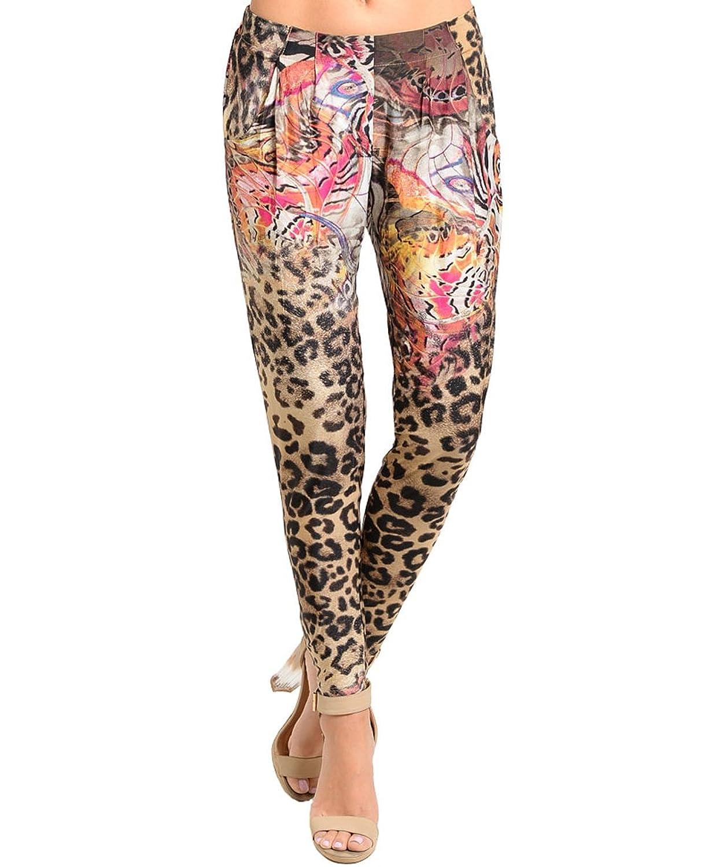 STANZINO WOMEN'S Animal Print SKINNY STRETCH CASUAL TROUSER Legging Pants