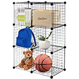 TANGKULA Wire Cubes Metal Wire Free Standing Modular DIY Bookcase Closet Organization Storage Cubes (6 cube)