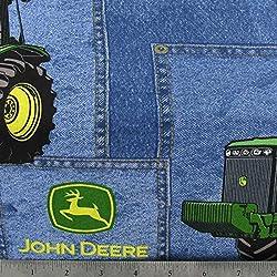 "Blue Jean Cotton Window Curtain Valance handmade 42""W x 15""L John Deere FABRIC"