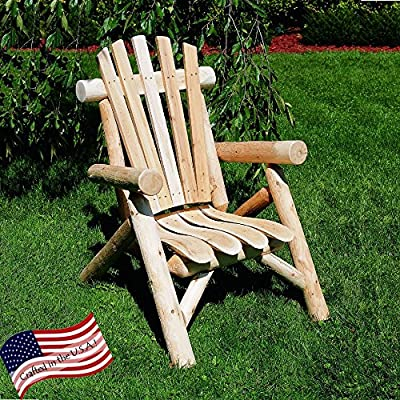 Lakeland Mills Classic Cedar Log Adirondack Chair - Solid cedar construction with contoured seat slats Made from Northern White Cedar Scalloped backrest & thick log armrests - patio-furniture, patio-chairs, patio - 61zJs0PC0vL. SS400  -