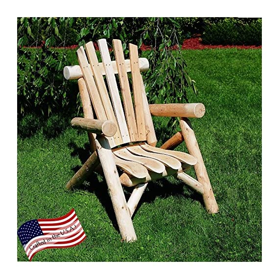 Lakeland Mills Classic Cedar Log Adirondack Chair - Solid cedar construction with contoured seat slats Made from Northern White Cedar Scalloped backrest & thick log armrests - patio-furniture, patio-chairs, patio - 61zJs0PC0vL. SS570  -