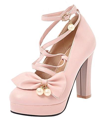 c11da902069e27 YE Damen Blockabsatz High Heels Pumps Plateau Schleife und Riemchen 10cm  Absatz Party Schuhe