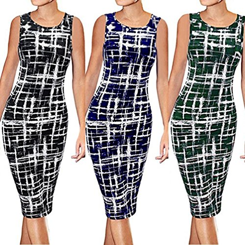 Business Sleeve Cap Classy Printed Party Cocktail Dress Pencil Sheath Green Women's BSGSH Bodycon q4gxwEXq