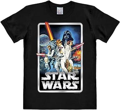 Logoshirt Camiseta La Guerra de Las Galaxias - Póster - Camiseta Star Wars - Poster - Camiseta con Cuello Redondo Negro - Diseño Original con Licencia: Amazon.es: Ropa y accesorios