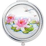 Miroir de poche compact 'Nénuphar Rose' de la Designer Vanroe, avec boîte-cadeau – Grossissant, Idée Prestige pour Demoiselle d'Honneur