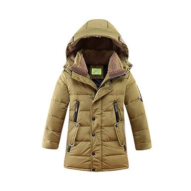 Amazon.com: Big Boys' Mid Long Duck Down Hooded Puffer Jacket ...