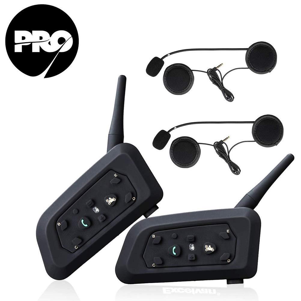 V6 Pro 2xAuriculares Intercomunicador Moto Bluetooth para Motocicletas,Gama Comunicaci/ón Intercom de 1200m,Intercomunicador Casco Moto,Impermeabilidad,Intercomunicacion Entre 6 Motociclistas