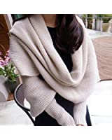Foxnovo Fashion Korean Style Autumn Winter Unisex Knitted Scarf Cape Shawl with Sleeves (Beige)