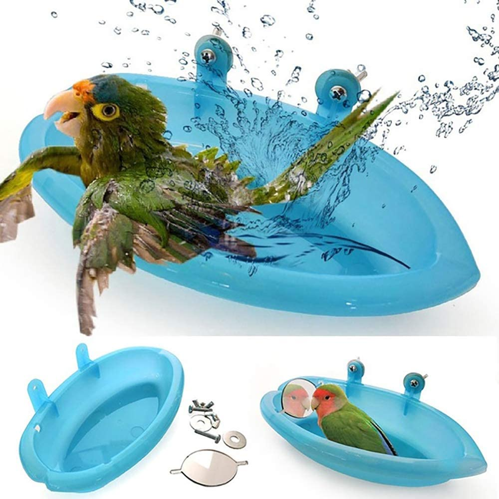 HZAKXIN Bird Bath with Mirror Toy, Healthy Shower Bathing Tub Food Feeder Bowl for Pet Small Medium Parrot Parakeets Cockatiels, Conures, Macaws, Love Birds, Finches