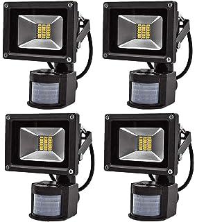 Leetop 4X Interior y Exterior 20W LED Focos Blanco Cálido con Sensor de Movimiento,con