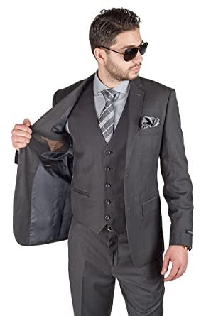 806af63f7b5 Slim Fit 3 Piece Vested Solid Dark Charcoal Grey Suit 2 Button Notch ...