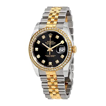 Image Unavailable. Image not available for. Color  Rolex Oyster Perpetual  Datejust 36 Black Dial Stainless Steel and 18K Yellow Gold Rolex Jubilee  Automatic 861fdbc66