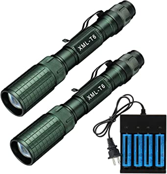 UltraFire 18650 Flashlight,with 2PCS UFB22 3.7v 18650 2200mAh Rechargeable Battery and Charger 1000 Lumens XM-L2 5 Modes Led Tactical Flashlights,Zoomable for Outdoor Camping Hiking Cycling