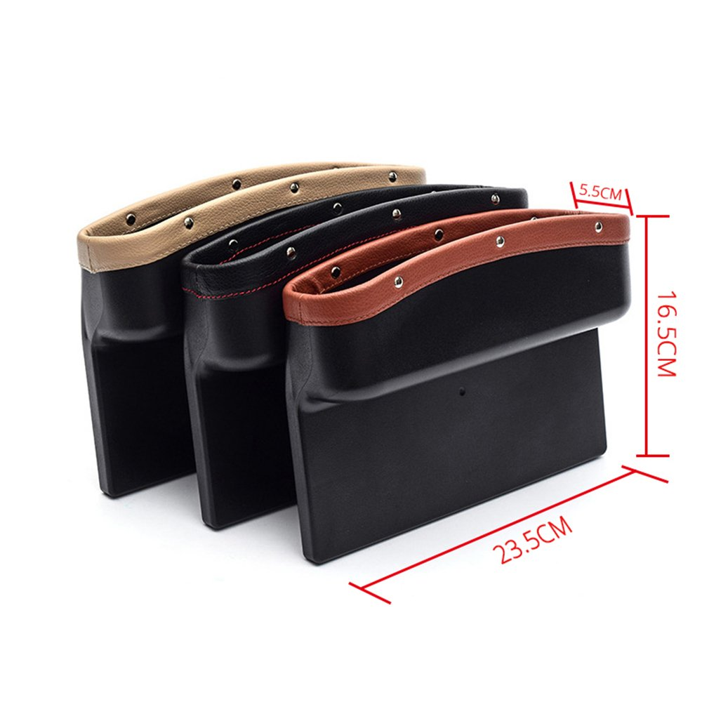 beige-2pcs AUTOFAN PU Leather Car Pockets Organizer Car Seat Gap Filler and Catcher Organizer