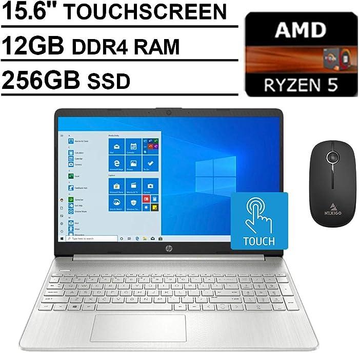 2020 Newest HP Pavilion 15.6 Inch Touchscreen Laptop with Webcam, AMD Ryzen 5 3500U (Beats i5-7200U), 12GB RAM, 256GB SSD, Windows 10 Home S, Silver + NexiGo Wireless Mouse Bundle