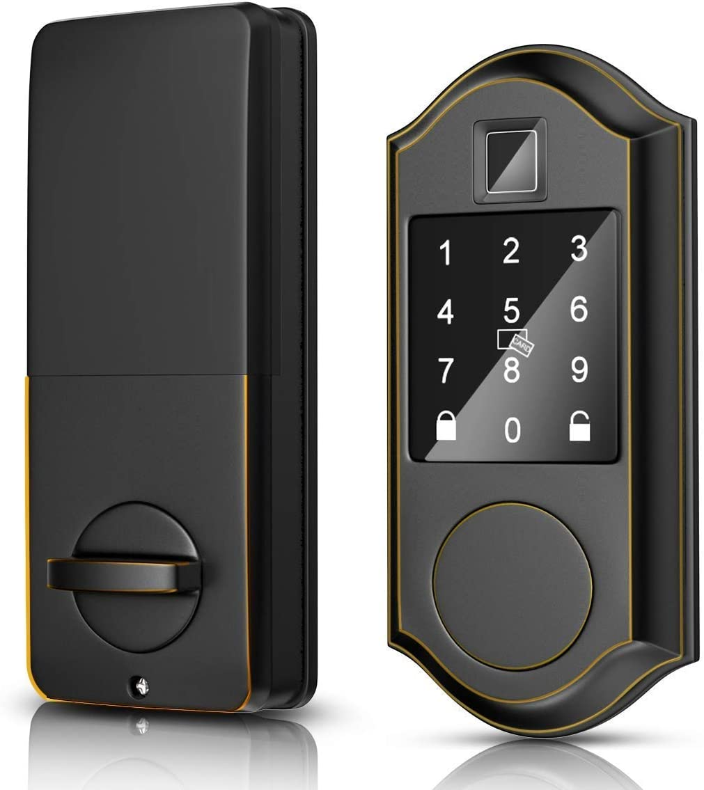 Narpult Smart Door Lock, Fingerprint Electronic Deadbolt Door Lock, Keyless Entry Door Lock Featuring Auto-Locking, Smart Door Lock, Works with Amazon Alexa, Google Assistant - Bronze