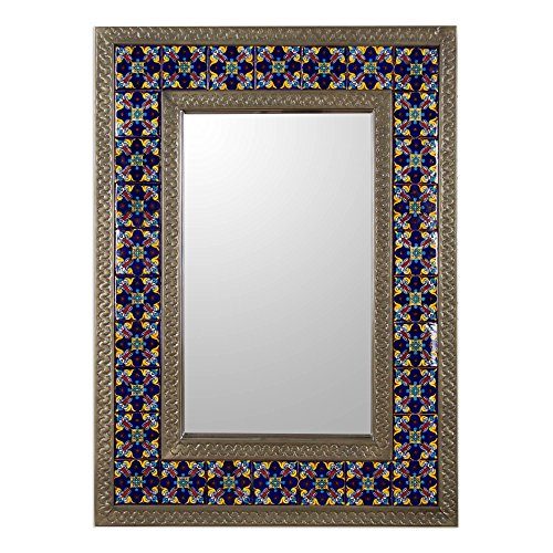 NOVICA Blue Floral Tile Ceramic and Tin Rectangular Wall Mounted Mirror, Blue Sapphire' (Flower Tin Mirror)