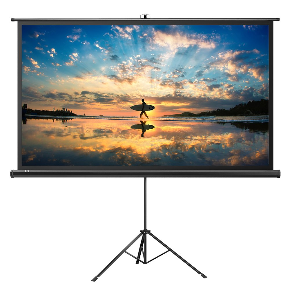 Projector Screen with Stand, TaoTronics Indoor Outdoor Projection Screen 100 Inch Diagonal 16:9 with Premium Wrinkle-Free Design (Easy to Clean, 1.1 Gain, 160° Viewing Angle & Includes a Carry Bag)