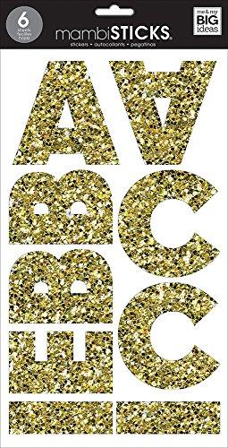me & my BIG ideas Large Alpha Sticker, Mia Chunky, Glitter Gold ()