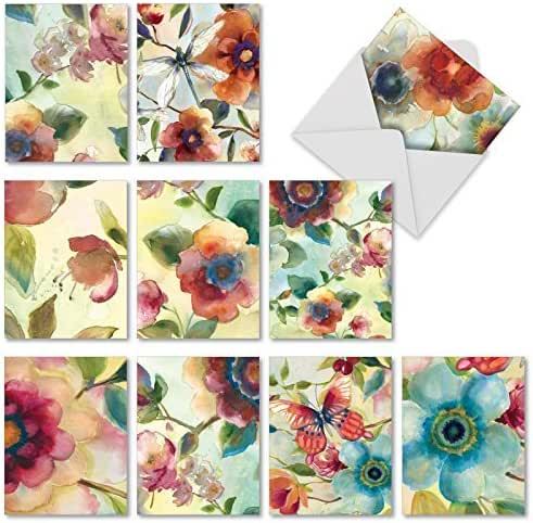 Watercolor All Occasion Blank Note Cards (Box of 10) - Beautiful Assorted Watercolor Botanicals Greeting Cards - Colorful Paintings of Floral Flowers - Notecards with Envelopes 4 x 5.12 inch M3314