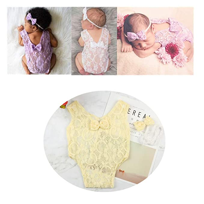207c61e3d Amazon.com  Newborn Infant Baby Photography Props Girls Lace Bow ...