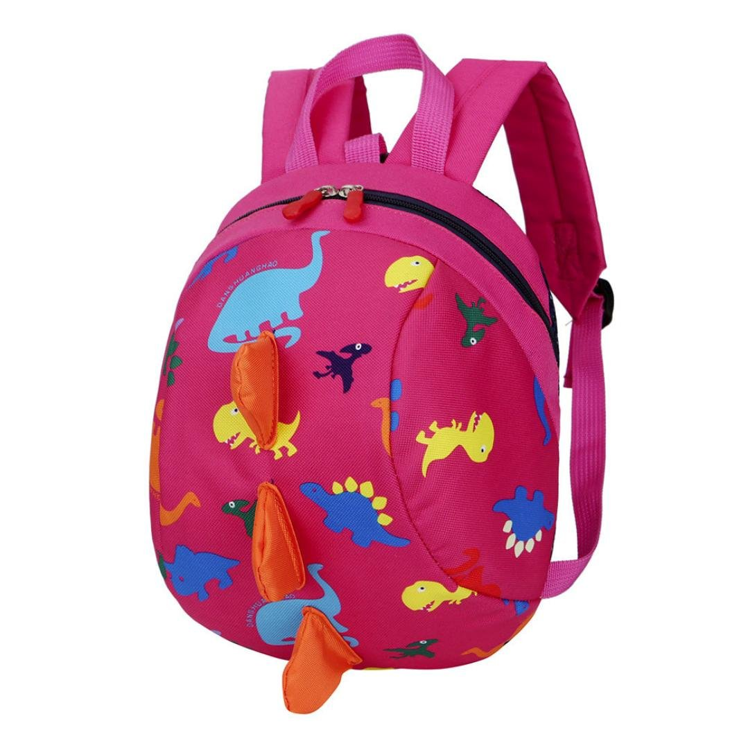Bolso, Manadlian Niños niñas Mochila de animales Patrón de dinosaurio Bolsa para la escuela (20cm(L)/26cm(H)/12cm(W), Rosa roja): Amazon.es: Hogar