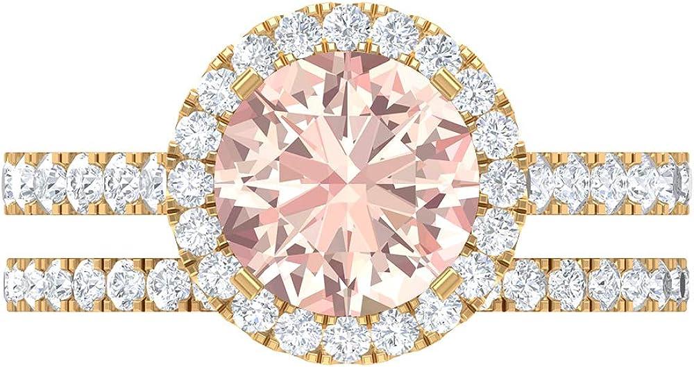 Conjunto único de anillos de novia, piedras preciosas redondas de 3,27 quilates, D-VSSI Moissanite 8 mm, anillo de compromiso de Morganita creado en laboratorio, 14K Oro