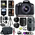 Canon EOS Rebel T6 DSLR Camera Kit, EF-S 18-55mm IS II Lens, EF 75-300mm III Telephoto Lens, Polaroid Wide Angle, Telephone Lens and Accessory Bundle from Canon