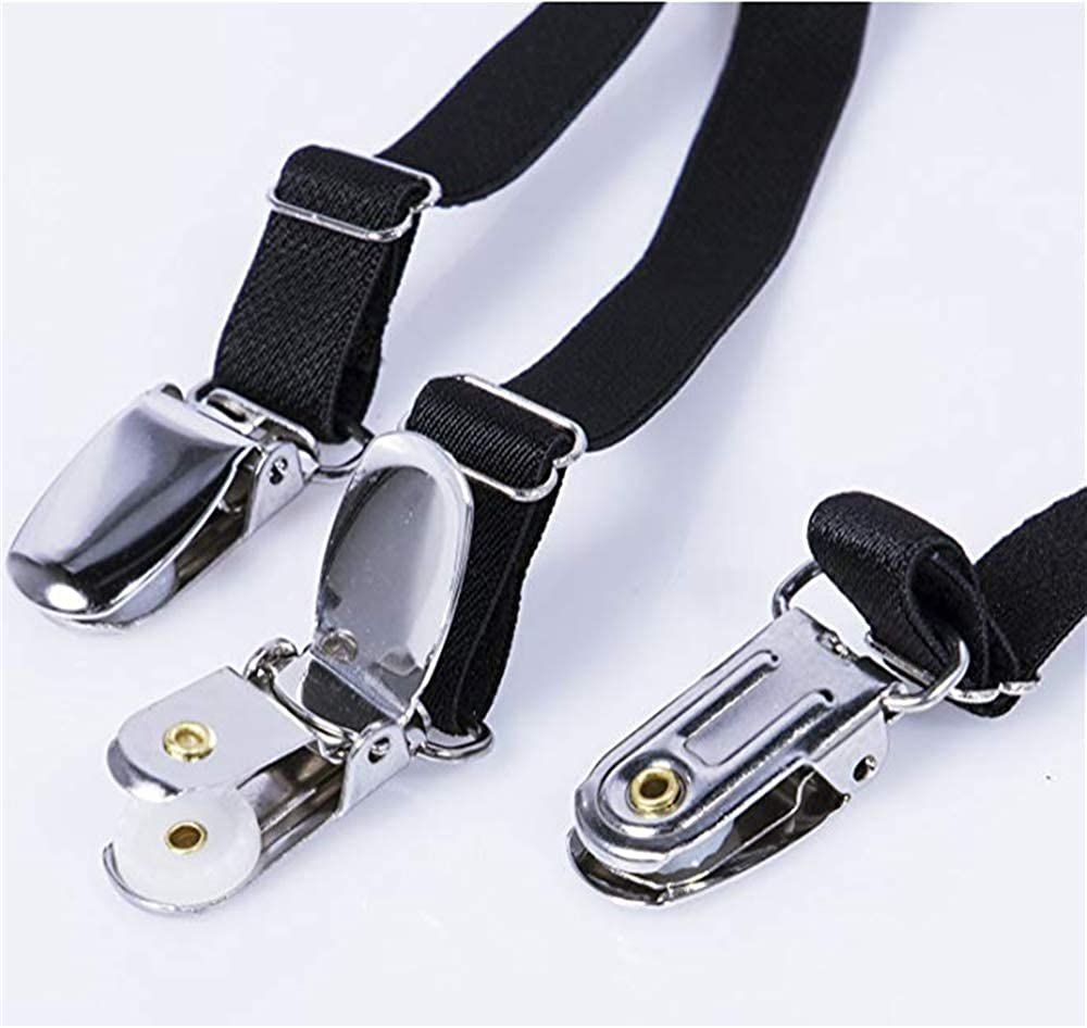 Non-Slip Clips Shirt Stay 1 Pair Warmhoming Mens Shirt Stays Adjustable Elastic Shirt Garters with Locking