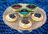 LIMITED TIME SPECIAL! C&C SAMPLER 3 jars - Siberian Osetra, Premium Sturgeon, Royal Osetra Caviar 3 x 20g ea FREE 16pcs Blini & Spoon