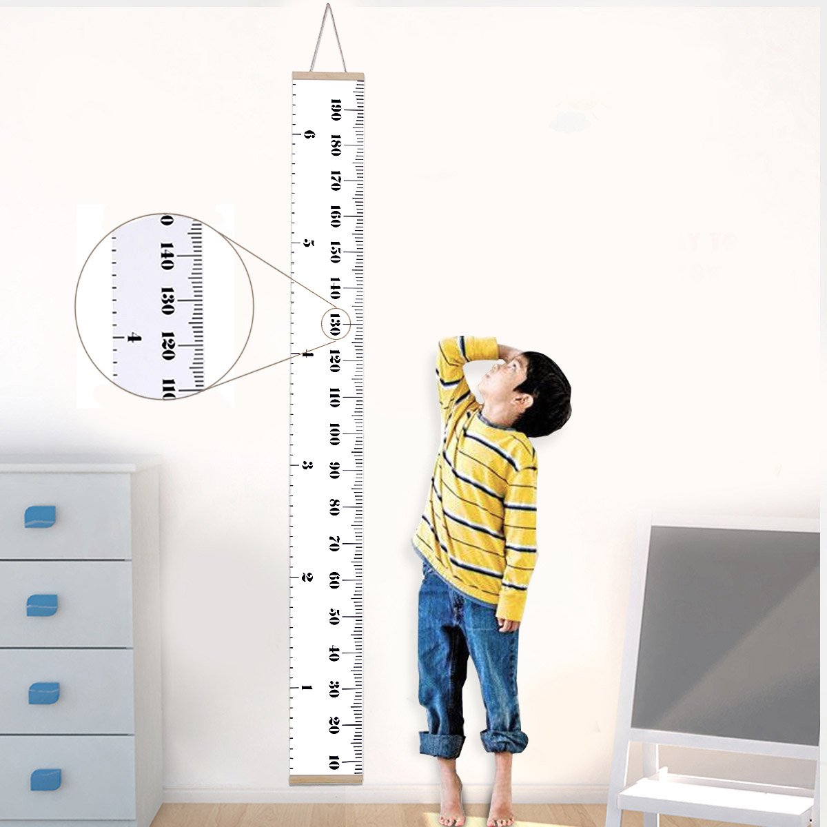 Jeteven Baby Growth Chart for Kids Hanging Wall Growth Chart Ruler, Canvas Removable Height Growth Chart 79\
