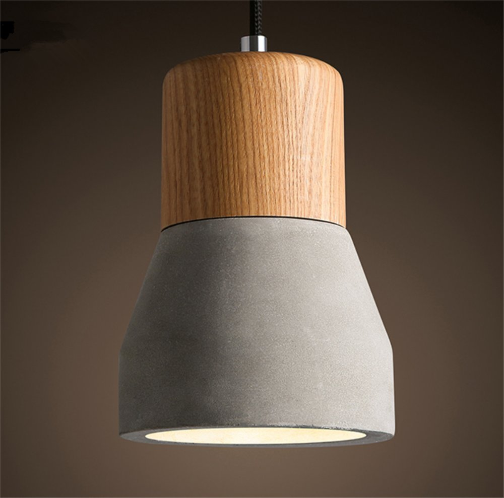 Cement pendant chandelier led hanging lighting fixtures creativity modern ceiling light fixture industry bar counter wood decoration for e27 a