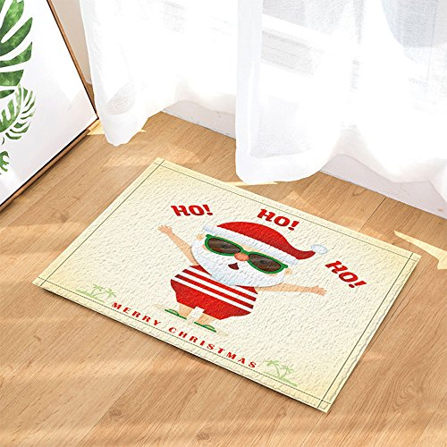 NYMB Summer Christmas Decor, Cartoon Santa Claus Wearing Sunglasses on Tropical Islands Bath Rugs, Non-Slip Doormat Floor Entryways Indoor Front Door Mat, Kids Bath Mat, - Santa Island Fashion