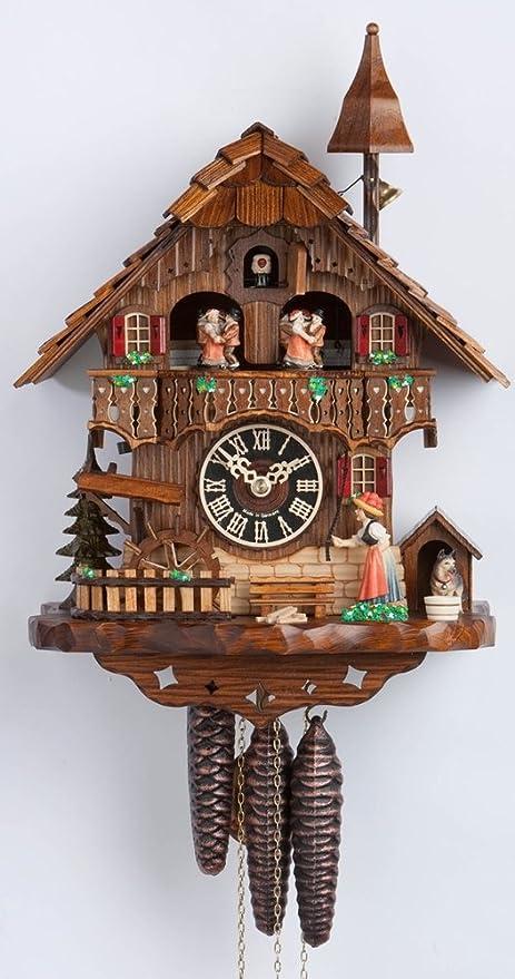 1 Día Musical Bosque Negro Chalet reloj de cuco con Bell Torre y Bell Timbre por