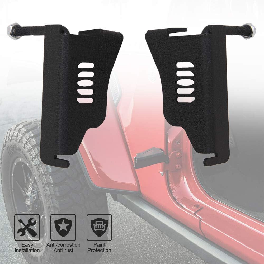 1 Pair Hildirix Metal Steel Front Exterior Door Hinge Foot Pegs Rest Pedals Fit for 2007-2017 Wrangler Jk JL JKU Unlimited Accessories