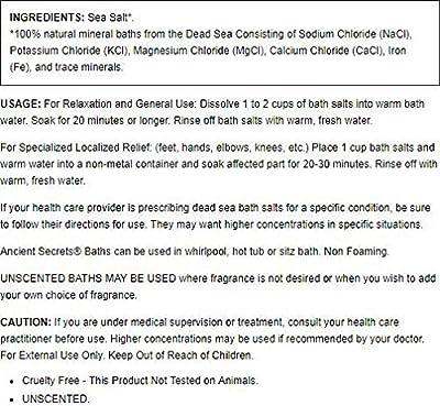 Ancient Secrets Dead Sea Bath Salts Unscented 2 Lbs