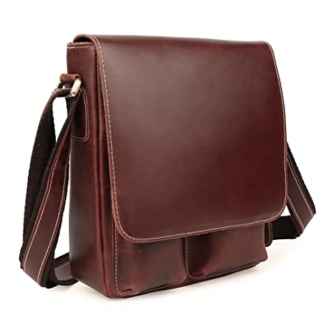 Tiding Men s Vintage Handmade Genuine Leather Shoulder Bag Small Messenger  Bag Satchel Travel Handbag (Red Brown)  Amazon.ca  Luggage   Bags 43f7e501e4