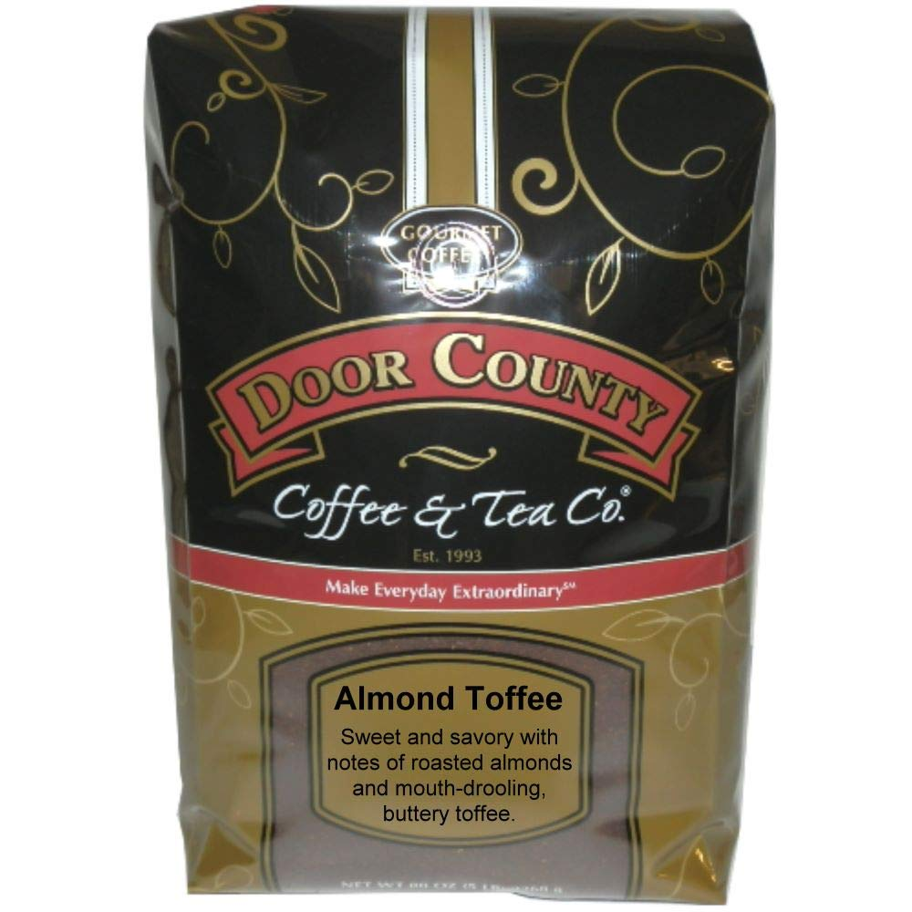 Door County Coffee, Almond Toffee, Ground, 5lb Bag