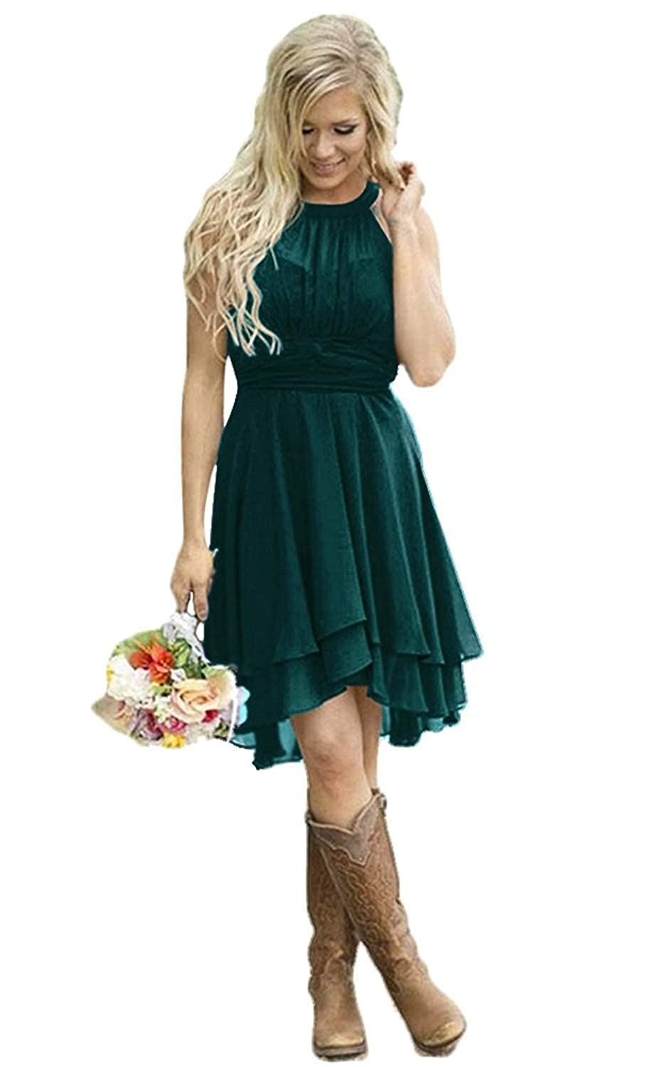 Dark Green FJMM HiLo Prom Dress 2 Layers Pleated Bridesmaid Gown for Beach Wedding