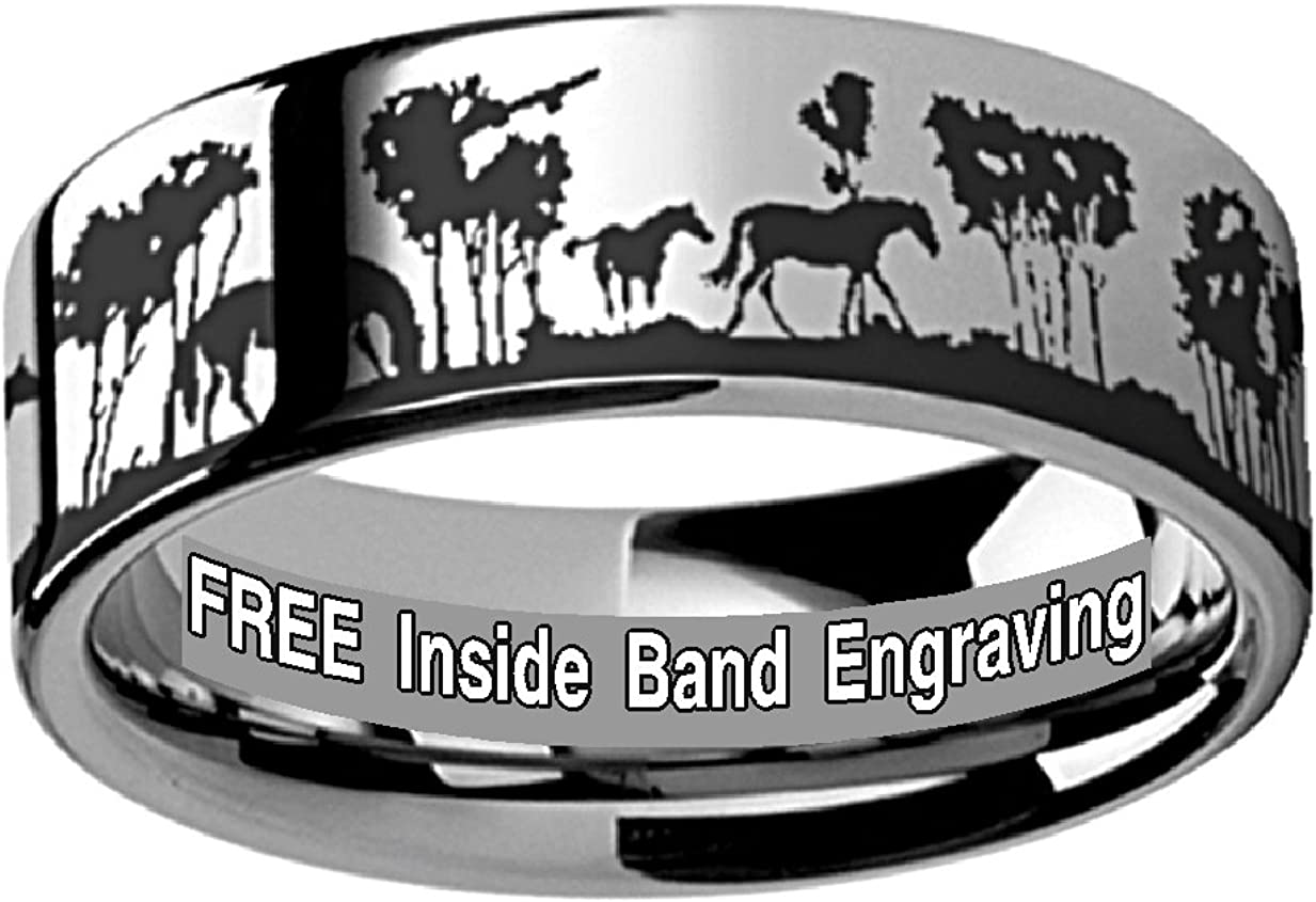 Thorsten Bear Cubs Animal Landscape Scene Bears Ring Flat Polished Tungsten Ring 4mm Wide Wedding Band from Roy Rose Jewelry