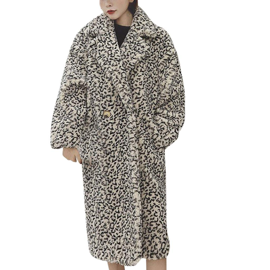 perfectCOCO Women Fashion Outercoat Overcoat Leopard Print Loose Long Plush Windbreaker Faux Fur Coat Lamb Jackets Black by perfectCOCO