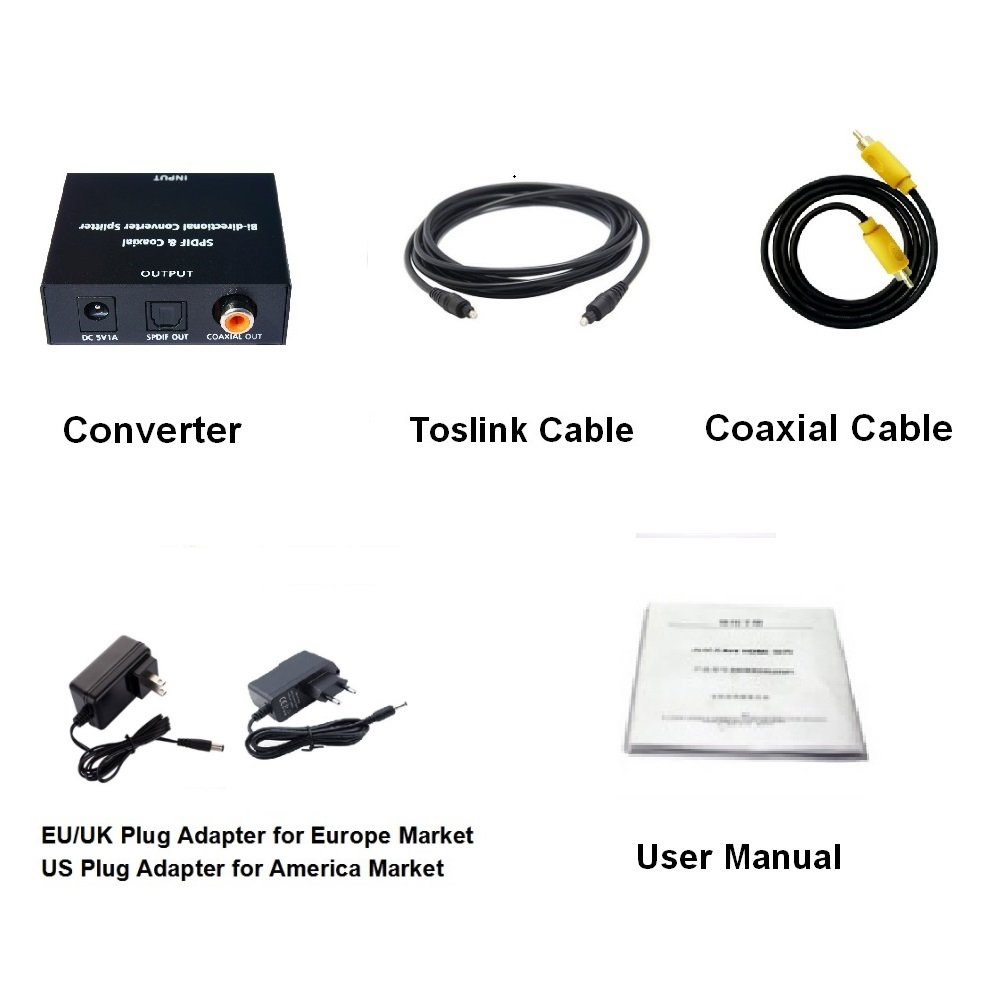 Amazon.com: HUIERAV SPDIF Toslink to Coaxial&SPDIF and Coaxial to SPDIF&Coaxial Bi-directional Audio Converter Splitter: Computers & Accessories