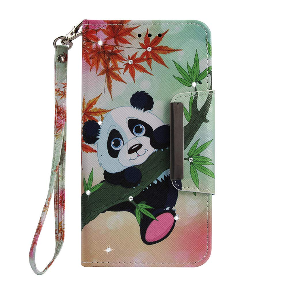 ZCXG iPhone 6 iPhone 6S Phone Case Glitter Pink Panda Cover Leather Wallet Phone Protective Clear Shockproof Diamond Card Slots Kickstand Flip Case Magnetic Closure
