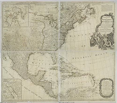 Historic Map | 1783 A New map of North America with the West India Islands : divided according to the preliminary articles of peace, signed at Versailles | Antique Vintage Reproduction