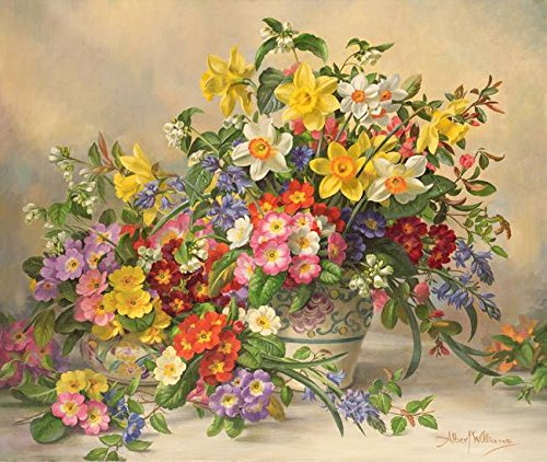 Imagekind Wall Art Print entitled Spring Flowers And Poole Pottery by The Fine Art Masters | 9 x 8
