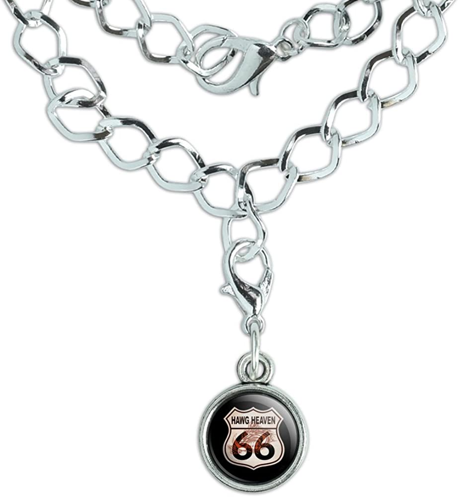 GRAPHICS /& MORE Hawg Heaven Route 66 Highway Hog Biker Motorcycle Silver Plated Bracelet with Antiqued Charm